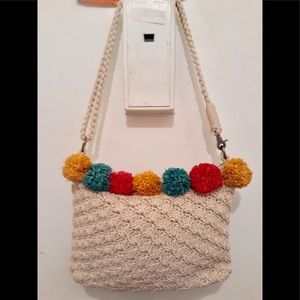THE SAK HAND CROCHETED POM POMS BAG